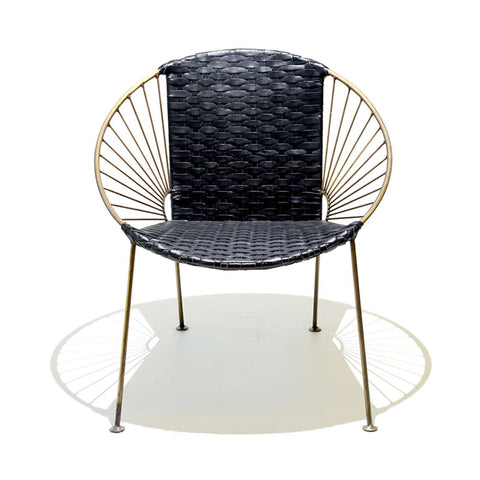 Ixtapa J Chair Brass + Black Leather