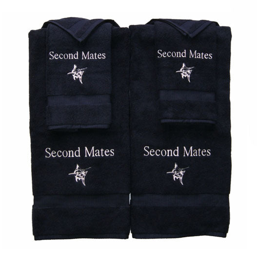 Embroidered his and hers towel set includes 2 hand towels great gift idea black