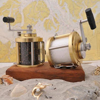 Fishing Reel Salt & Pepper Set with Teak Base