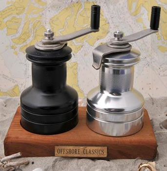 Sailing Winch Salt & Pepper Set with Teak Base