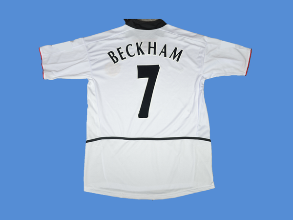 MANCHESTER UNITED 2003 2004 BECKHAM 7 AWAY WHITE JERSEY