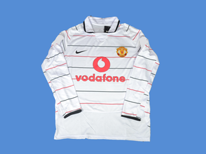 MANCHESTER UNITED  2003 2004  AWAY  LONG SLEEVES  WHITE   JERSEY