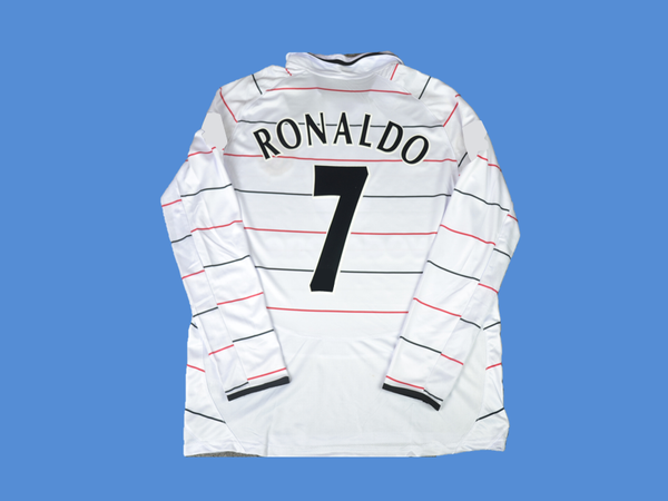 MANCHESTER UNITED  2003 2004  RONALDO 7 AWAY  LONG SLEEVES  WHITE   JERSEY