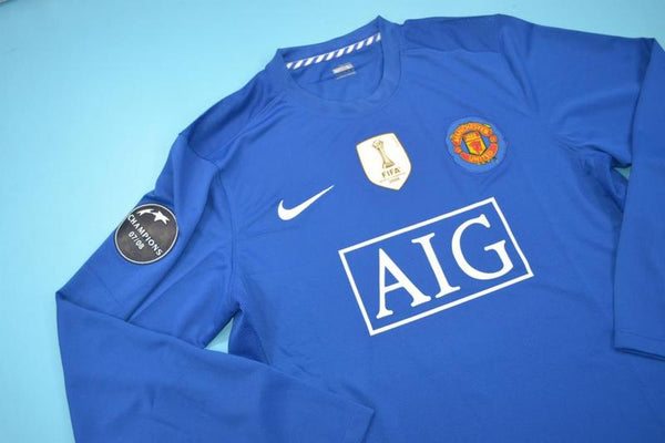 MANCHESTER UNITED 2007 2008 RONALDO 7 LONG SLEEVE AWAY JERSEY WORLD CHAMPIONS