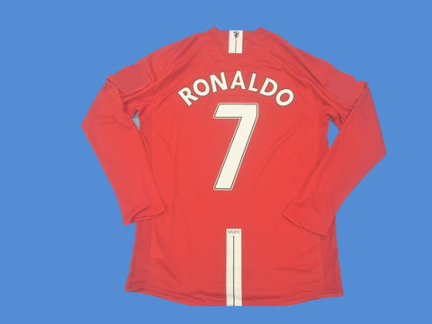 MANCHESTER UNITED 2007 2008 RONALDO 7 LONG SLEEVE HOME JERSEY