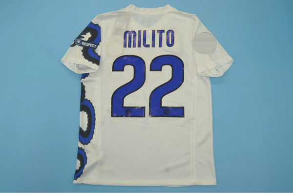 INTER MILAN 2010 MILITO 22 WITH BADGES AWAY JERSEY
