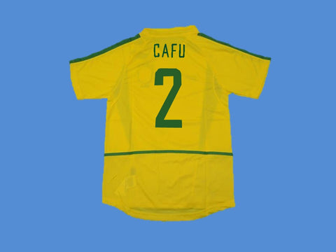 BRAZIL BRASIL 2002 WORLD CUP CAFU 2 HOME  JERSEY