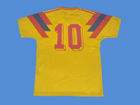 COLOMBIA 1990 WORLD CUP NUMBER 10 HOME YELLOW JERSEY