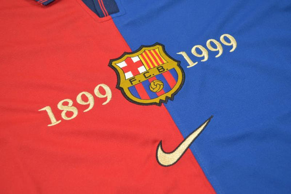 FC BARCELONA 1999 FIGO 7 FOOTBALL 100 YEARS HOME JERSEY