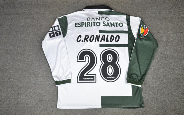 SPORTING LISBON 2001 2003 RONALDO 28 LONG SLEEVE AWAY  JERSEY