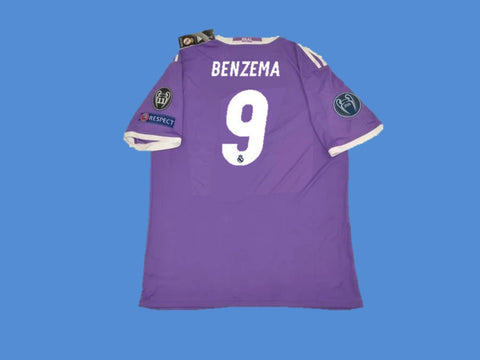 REAL MADRID 2016-2017 BENZEMA 9 UEFA CHAMPIOS LEAGUE AWAY JERSEY