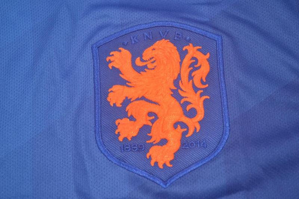 NETHERLANDS HOLLAND 2014 VAN PERSIE 9 WORLD CUP PATCHES AWAY  JERSEY