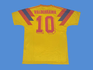 COLOMBIA 1990 WORLD CUP VALDERRAMA 10 HOME YELLOW JERSEY