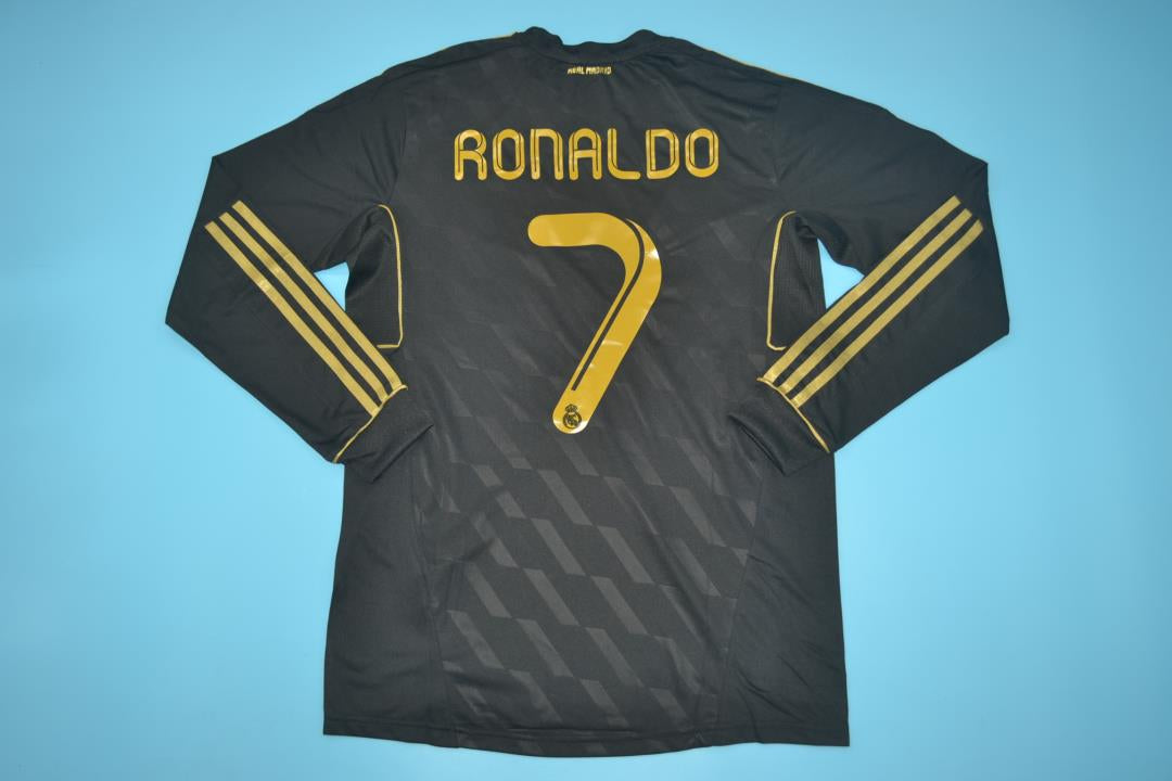 online retailer 446f2 73218 REAL MADRID 2011-2012 RONALDO 7 AWAY BLACK FOOTBALL SHIRT JERSEY LONG SLEEVE
