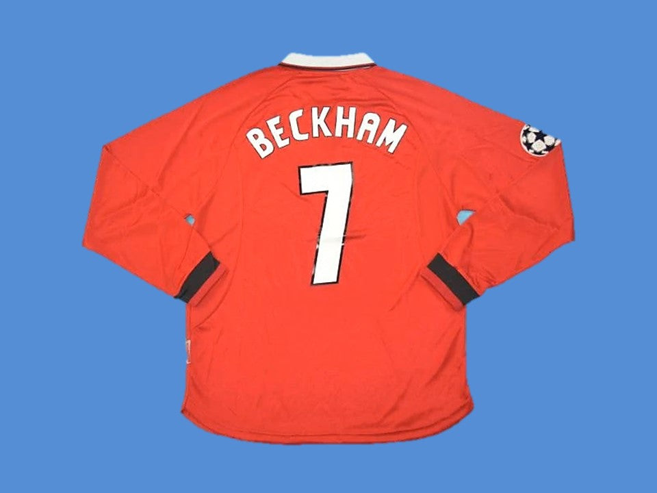 MANCHESTER UNITED 1999 BECKHAM 7 UCL FINAL LONG SLEEVE HOME JERSEY