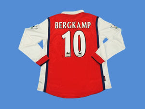 ARSENAL 1998 1999 BERGKAMP 10 LONG SLEEVE HOME JERSEY PREMIER LEAGUE