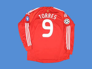 LIVERPOOL 2008 2010 TORRES 9 LONG SLEEVE CHAMPIONS LEAGUE HOME JERSEY