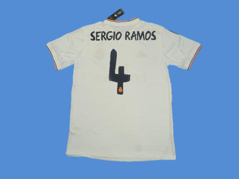 REAL MADRID 2013-2014 SERGIO RAMOS 4  UEFA CHAMPIOS LEAGUE HOME JERSEY