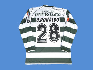 SPORTING LISBON 2001 2003 LONG SLEEVE RONALDO 28 HOME JERSEY