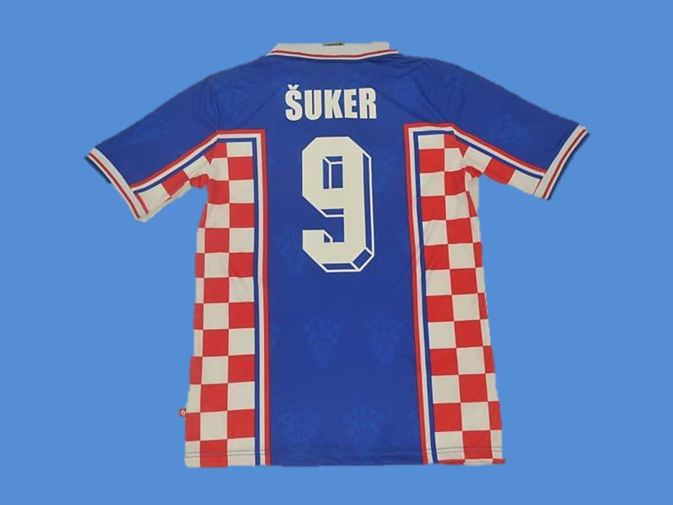 CROATIA 1998 SUKER 9 WORLD CUP HRVATSKA  AWAY JERSEY