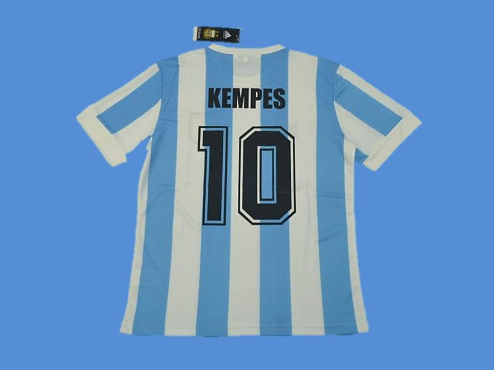 ARGENTINA 1978 KEMPES 10 WORLD CUP HOME  JERSEY