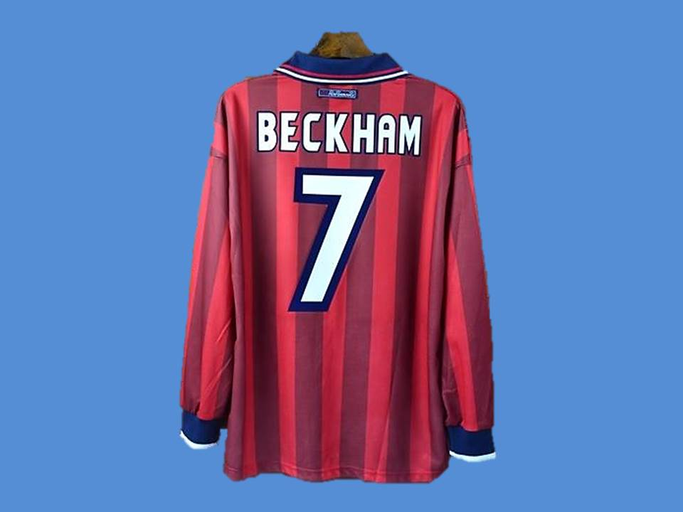 ENGLAND 1998 BECKHAM 7 WORLD CUP LONG SLEEVE AWAY JERSEY