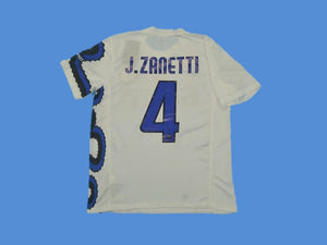INTER MILAN 2010 ZANETTI 4 WITH BADGES AWAY JERSEY
