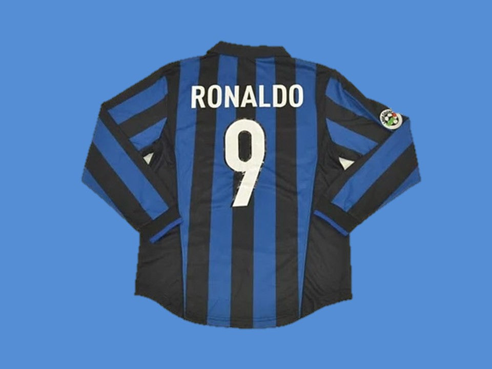 INTER MILAN 1998 1999 RONALDO 9 LONG SLEEVE HOME JERSEY