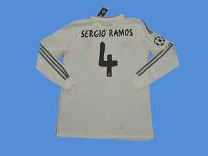REAL MADRID 2013-2014 SERGIO RAMOS 4 UEFA CHAMPIOS LEAGUE LONG SLEEVE HOME JERSEY