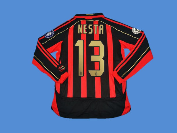 AC MILAN 2006 2007 NESTA 13 LONG SLEEVE HOME JERSEY