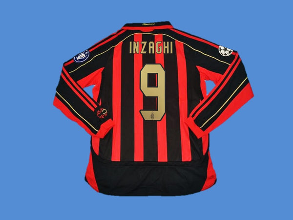 AC MILAN 2006 2007 INZAGHI 9 LONG SLEEVE HOME JERSEY