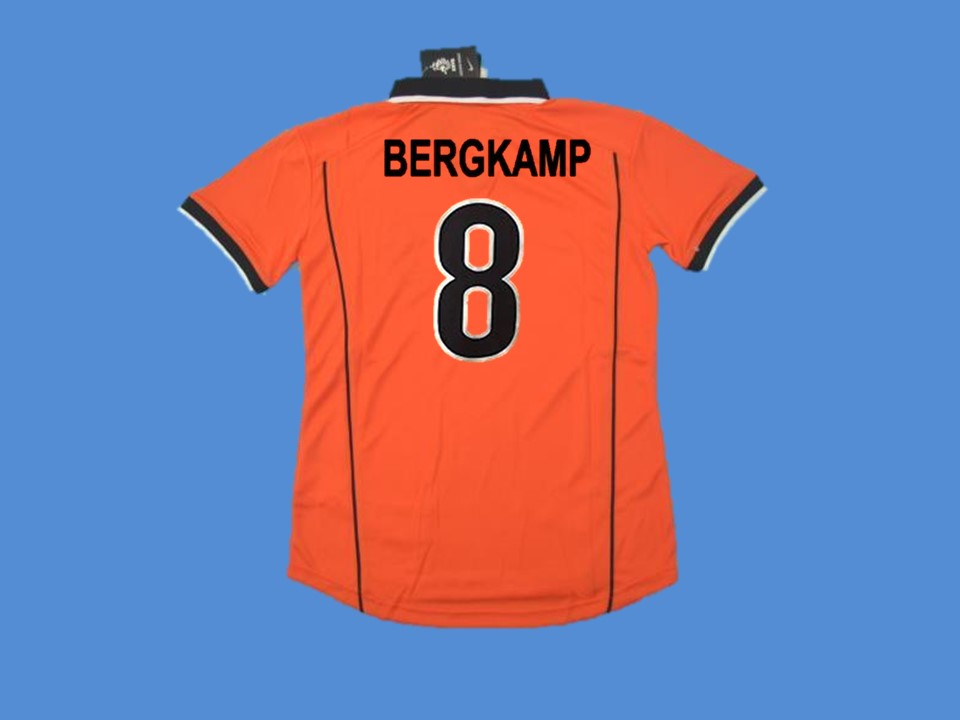 NETHERLANDS HOLLAND 1998 BERGKAMP 8 WORLD CUP HOME  JERSEY