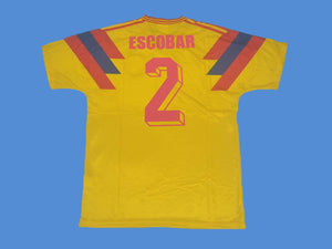 COLOMBIA 1990 WORLD CUP ESCOBAR 2 HOME YELLOW JERSEY
