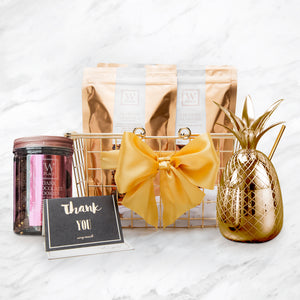 W GOLDEN PINEAPPLE MUG BASKET