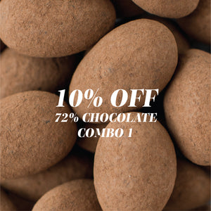 COMBO 1 - 10% Off - 72% Dark Chocolate Almonds | 150g + 72% Dark Chocolate Hazelnuts | 150g (VEGAN)