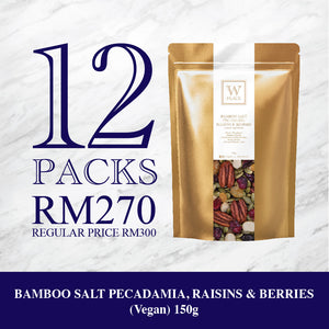 12 PACKS x 150g - BAMBOO SALT PECADAMIA, RAISINS & BERRIES (Vegan)