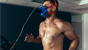 man measuring vo2 max