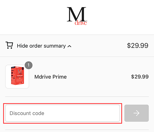 Entering Mdrive discount code