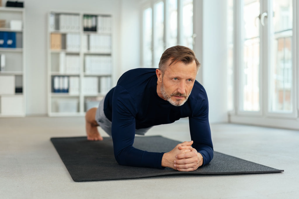 man doing a plank for core strength
