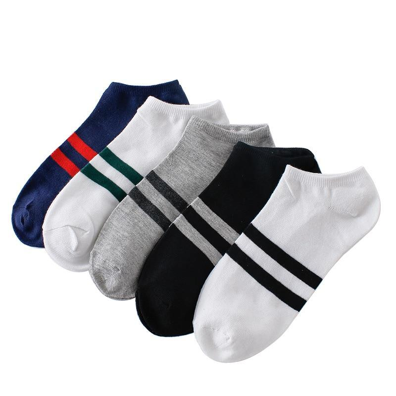 10pcs=5pairs Men's Socks Cotton Stripe Boat Socks