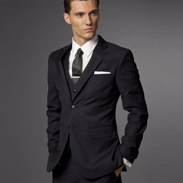 3 Piece Suit Black Wedding Tuxedos (One Size)