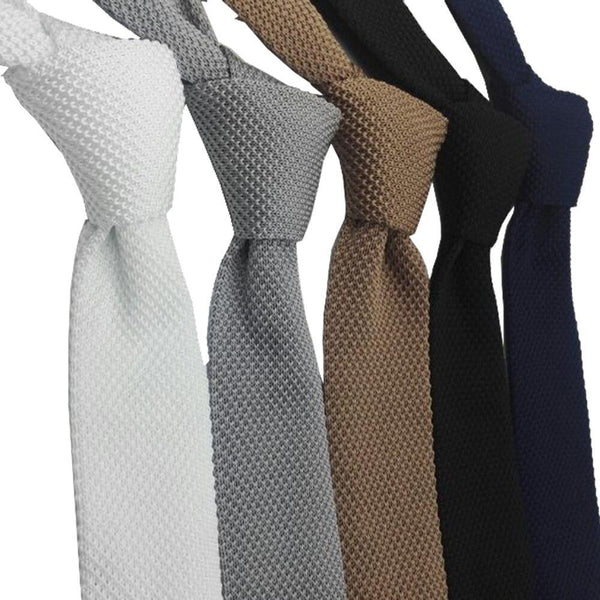 5.5 cm Solid Black White Gray Blue Burgundy Knitted Ties