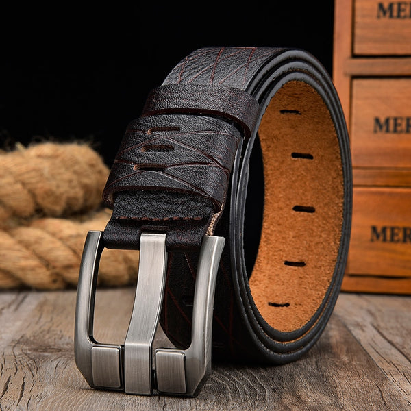 Leather luxury pin buckle belts
