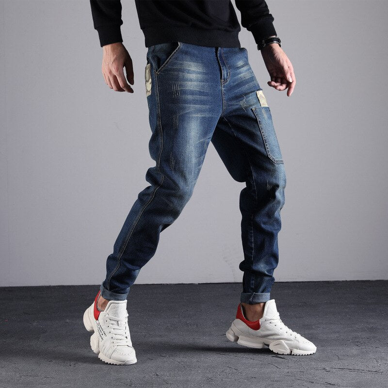 Elastic Waist Men Casual Stretch Jeans