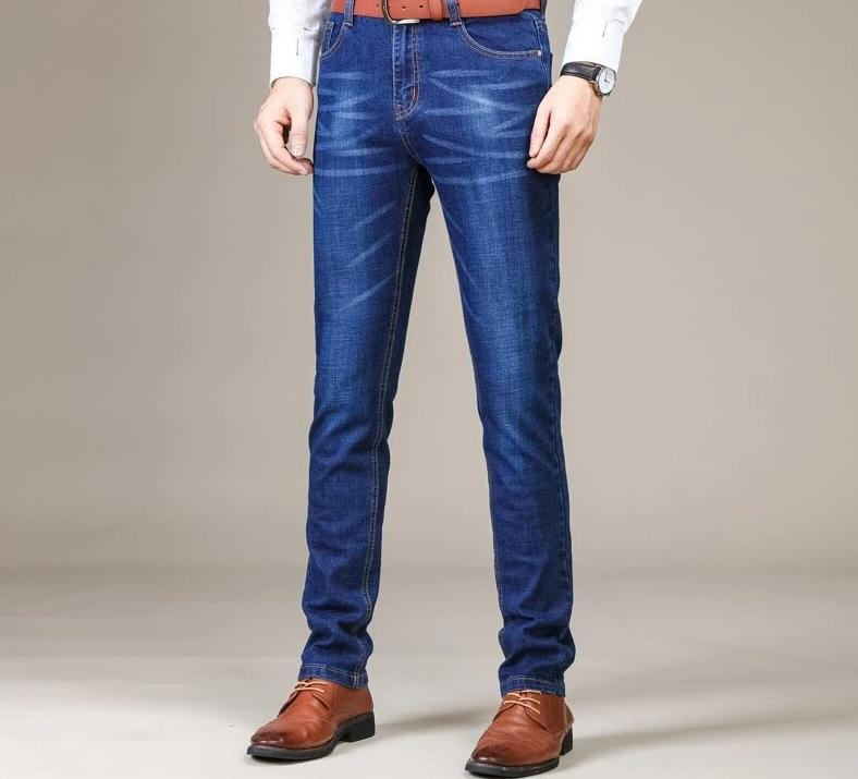 Casual Straight elastic jeans,men's slim pants