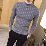 Casual striped solid color sweater