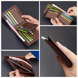 Cow Leather Short Wallet - Casual Genuine Leather Male Wallet - NewVision