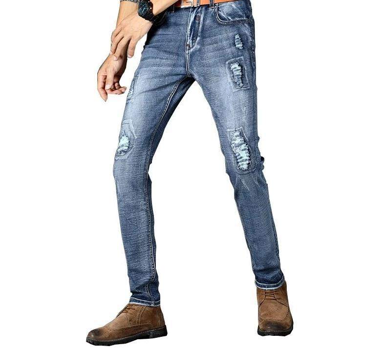 High quality casual elestic holes jeans