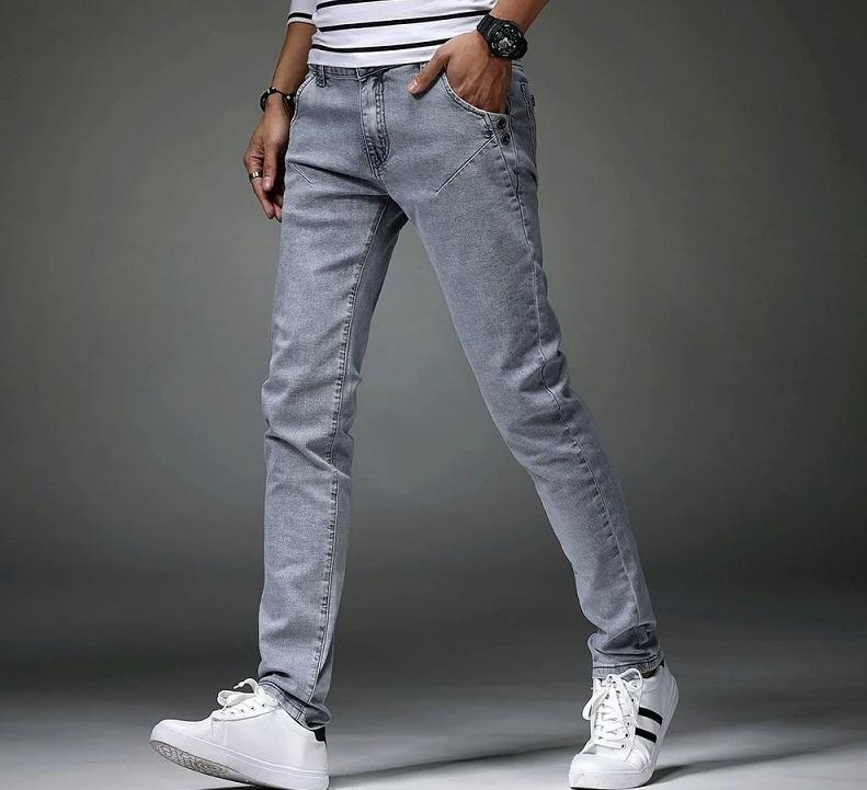 High quality casual slim grey jeans