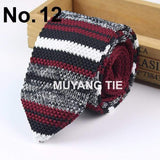 Knitted Knit Leisure Triangle Striped Ties